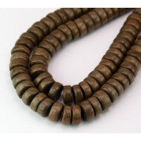 Greywood Beads, Grey Brown, 10x5mm Pucalet