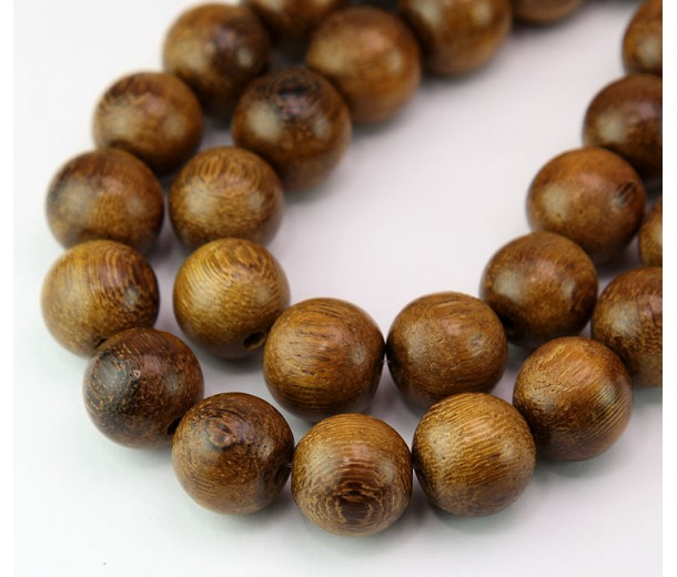 Robles Wood Beads, Brown, 15mm Round