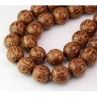 Palmwood Beads, Brown, 15mm Round