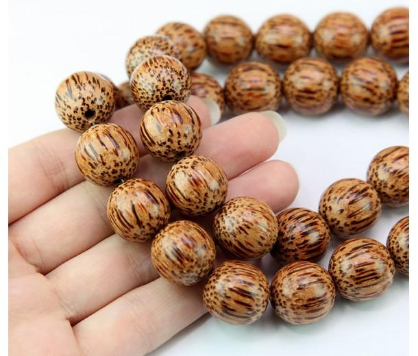 Palmwood Beads, Brown, 15mm Round