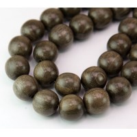 Greywood Beads, Grey Brown, 15mm Round
