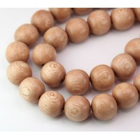 Rosewood Beads, Light Beige, 15mm Round