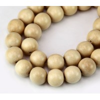 Wood Beads, Beige, 12mm Round