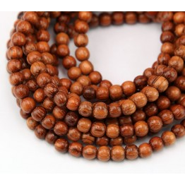 Bayong Wood Beads, Brown, 4-5mm Round