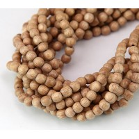 Rosewood Beads, Light Brown, 4-5mm Round