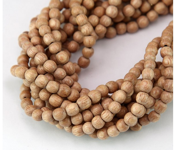 Rosewood Beads, Light Beige, 4-5mm Round