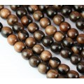 Ebony Wood Beads, Black and Brown, 8mm Round