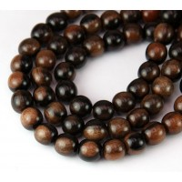 Ebony Wood Beads, Black and Brown, 6mm Round