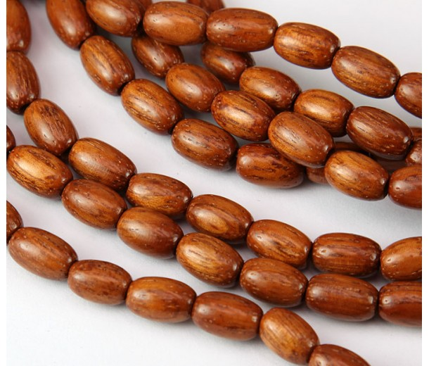 Bayong Wood Beads, Brown, 9x6mm Oval