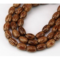 Palmwood Beads, Brown & Cream, 10x6mm Oval