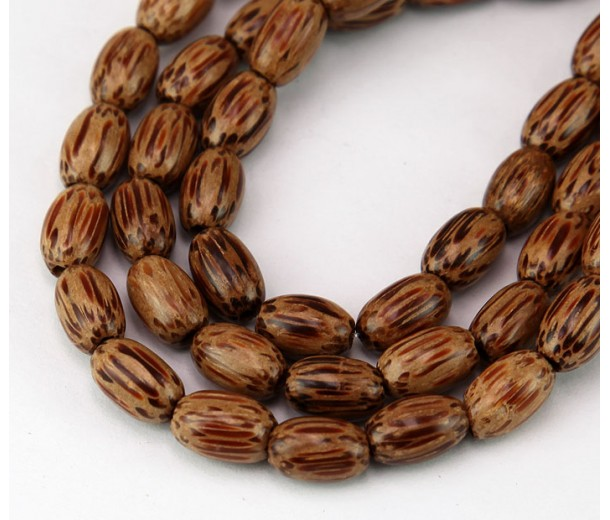 Palmwood Beads, Brown & Cream, 10x6mm Oval