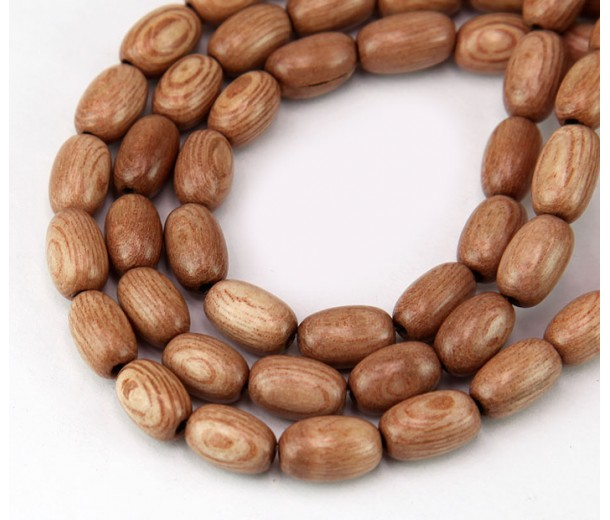 Rosewood Beads, Light Beige, 9x6mm Oval
