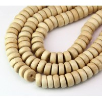 Wood Beads, Beige, 8x4mm Pucalet