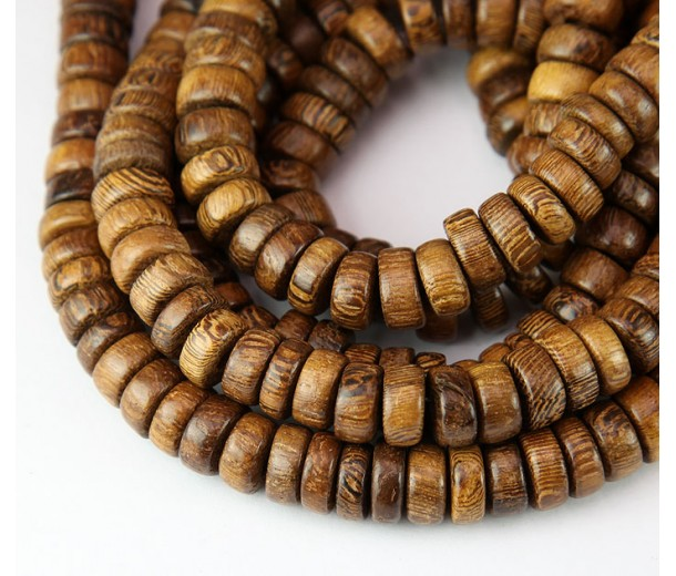 Robles Wood Beads, Brown, 8x4mm Pucalet