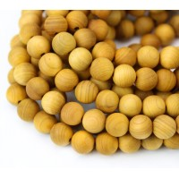Wood Beads, Ochre Yellow, 6mm Round