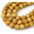 Wood Beads, Ochre Yellow, 6mm Round