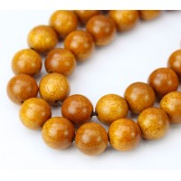 Wood Beads, Butterscotch Yellow, 10mm Round