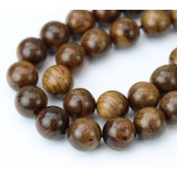 Wood Beads, Cocoa Brown, 10mm Round