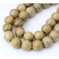 Wood Beads, Sand Brown, 10mm Round