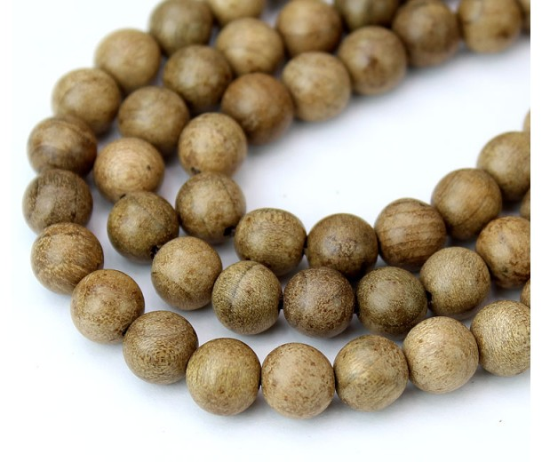 Wood Beads, Sand Brown, 6mm Round