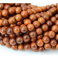 Wood Beads, Pecan Brown, 6mm Round