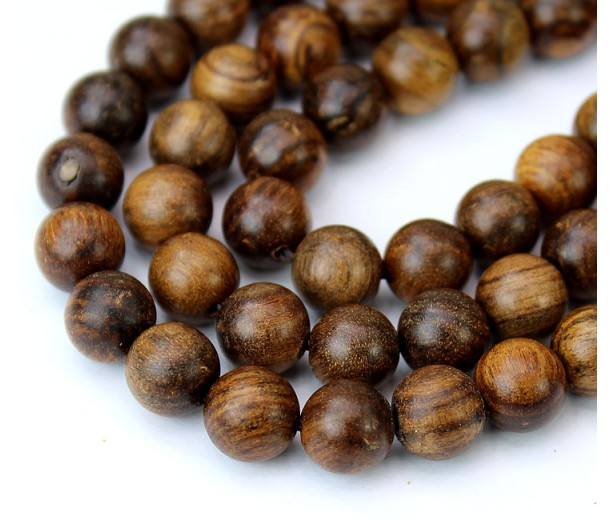 Sandalwood Beads, Warm Brown, 6mm Round