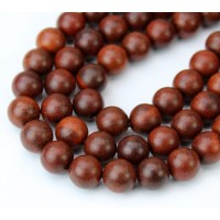 Sandalwood Beads, Red Brown, 8mm Round