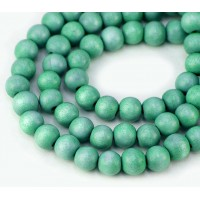 Dyed Wood Beads, Teal, 8mm Round