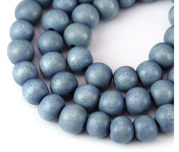 Dyed Wood Beads, Steel Blue, 10mm Round