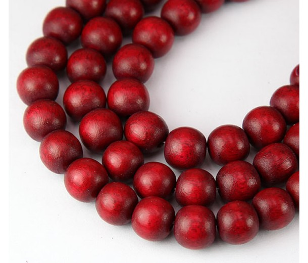 Dyed Wood Beads, Red, 10mm Round