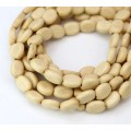 Wood Beads, Beige, 8x11mm Flat Oval