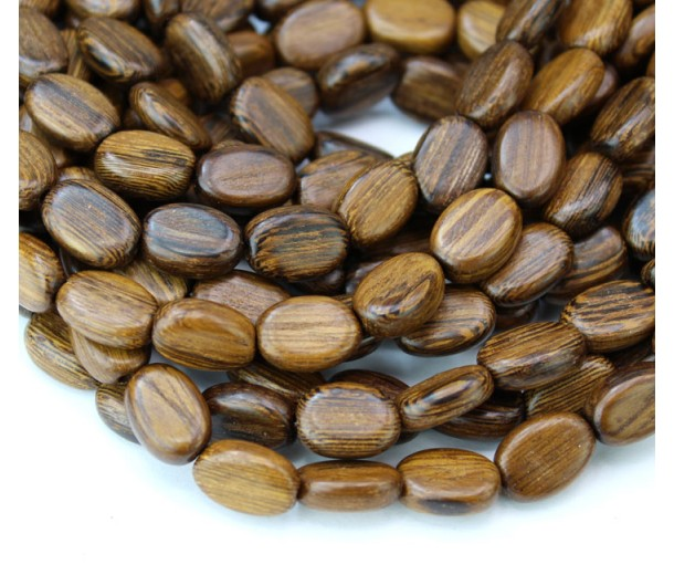 Robles Wood Beads, Brown, 8x11mm Flat Oval
