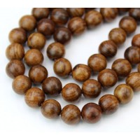 Wood Beads, Cocoa Brown, 8mm Round