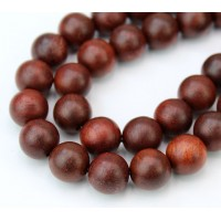 Sandalwood Beads, Red Brown, 10mm Round