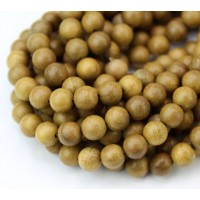 Sandalwood Beads, Yellow Brown, 6mm Round