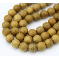 Sandalwood Beads, Yellow Brown, 8mm Round