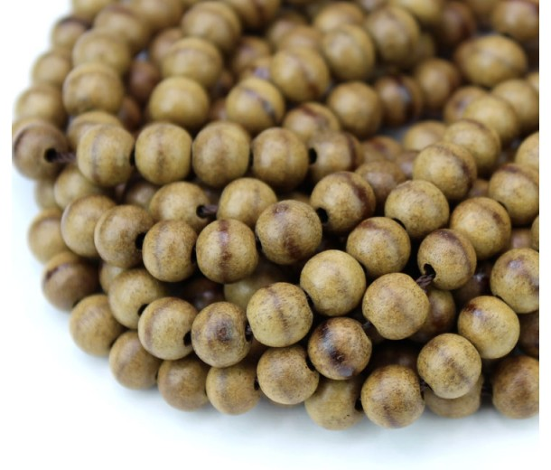 Sandalwood Beads, Striped, 6mm Round