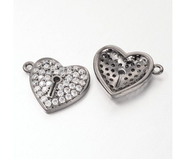 13mm Heart Lock Cubic Zirconia Charm, Gunmetal, 1 Piece