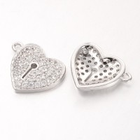 13mm Heart Lock Cubic Zirconia Charm, Platinum Tone, 1 Piece