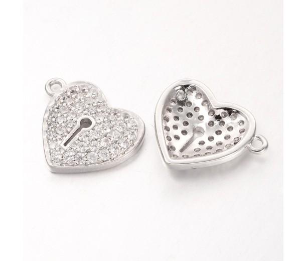 13mm Heart Lock Cubic Zirconia Charms, Platinum Tone