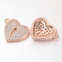 13mm Heart Lock Cubic Zirconia Charm, Rose Gold Tone