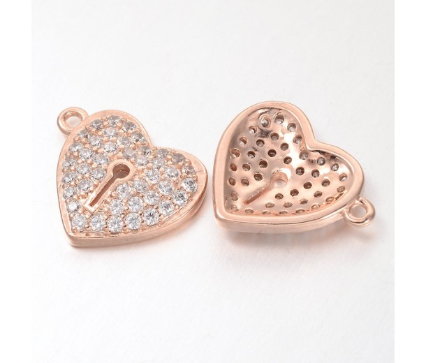 13mm Heart Lock Cubic Zirconia Charm, Rose Gold Tone, 1 Piece
