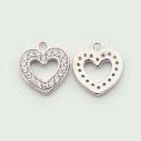 10mm Heart Cubic Zirconia Charm, Platinum Tone