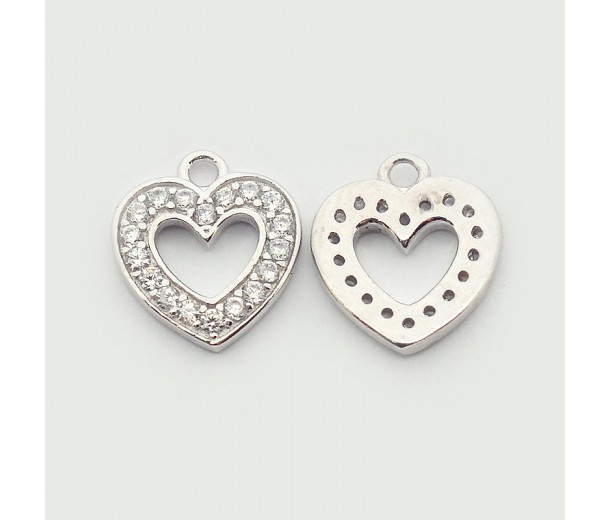 10mm Heart Cubic Zirconia Charms, Platinum Tone