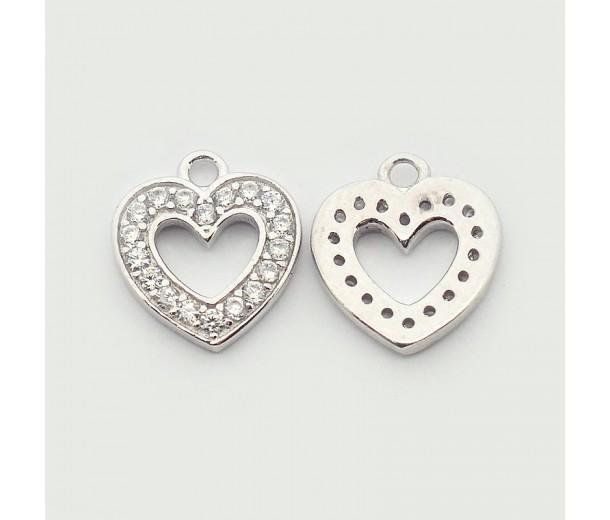 10mm Heart Cubic Zirconia Charms, Platinum Tone