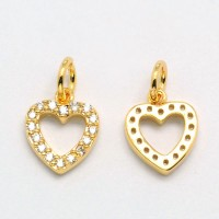 10mm Heart Cubic Zirconia Charm, Gold Tone