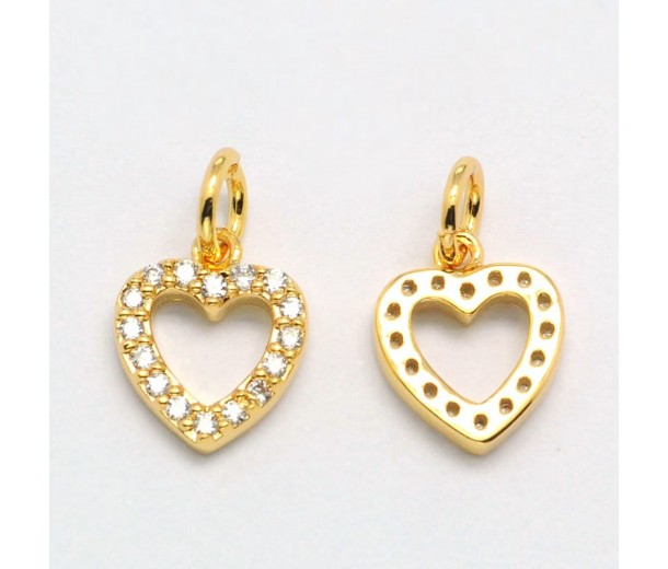 10mm Heart Cubic Zirconia Charm, Gold Tone, 1 Piece