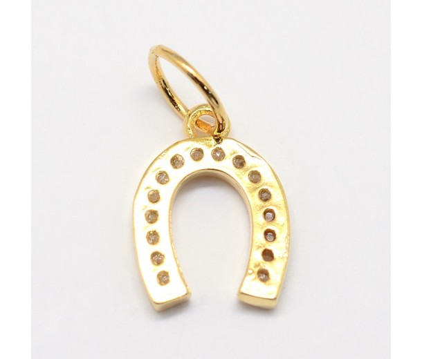 13mm Horse Shoe Cubic Zirconia Charm, Gold Tone, 1 Piece