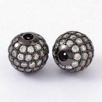 Crystal Gunmetal Tone Cubic Zirconia Beads, 10mm Round