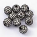 Crystal Gunmetal Tone Cubic Zirconia Bead, 10mm Round